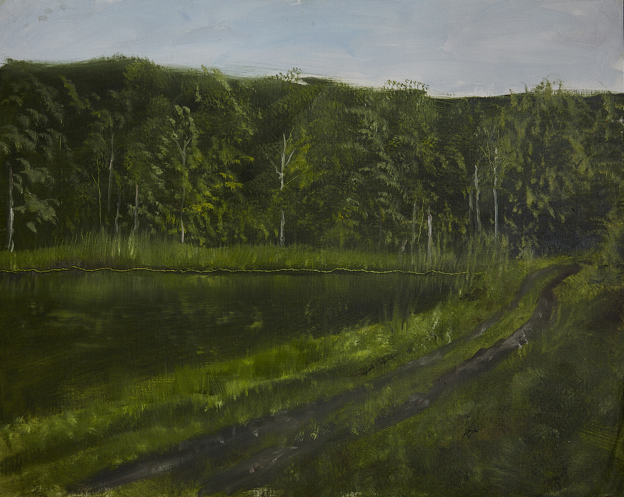 The heat on the lake in Hudson New York    oil on paper
