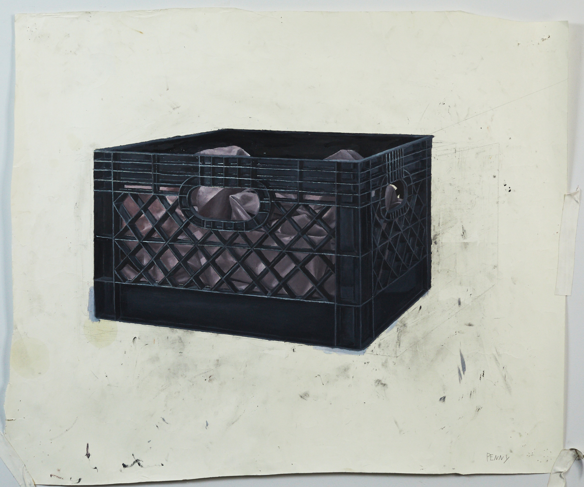 the crate  oil on paper