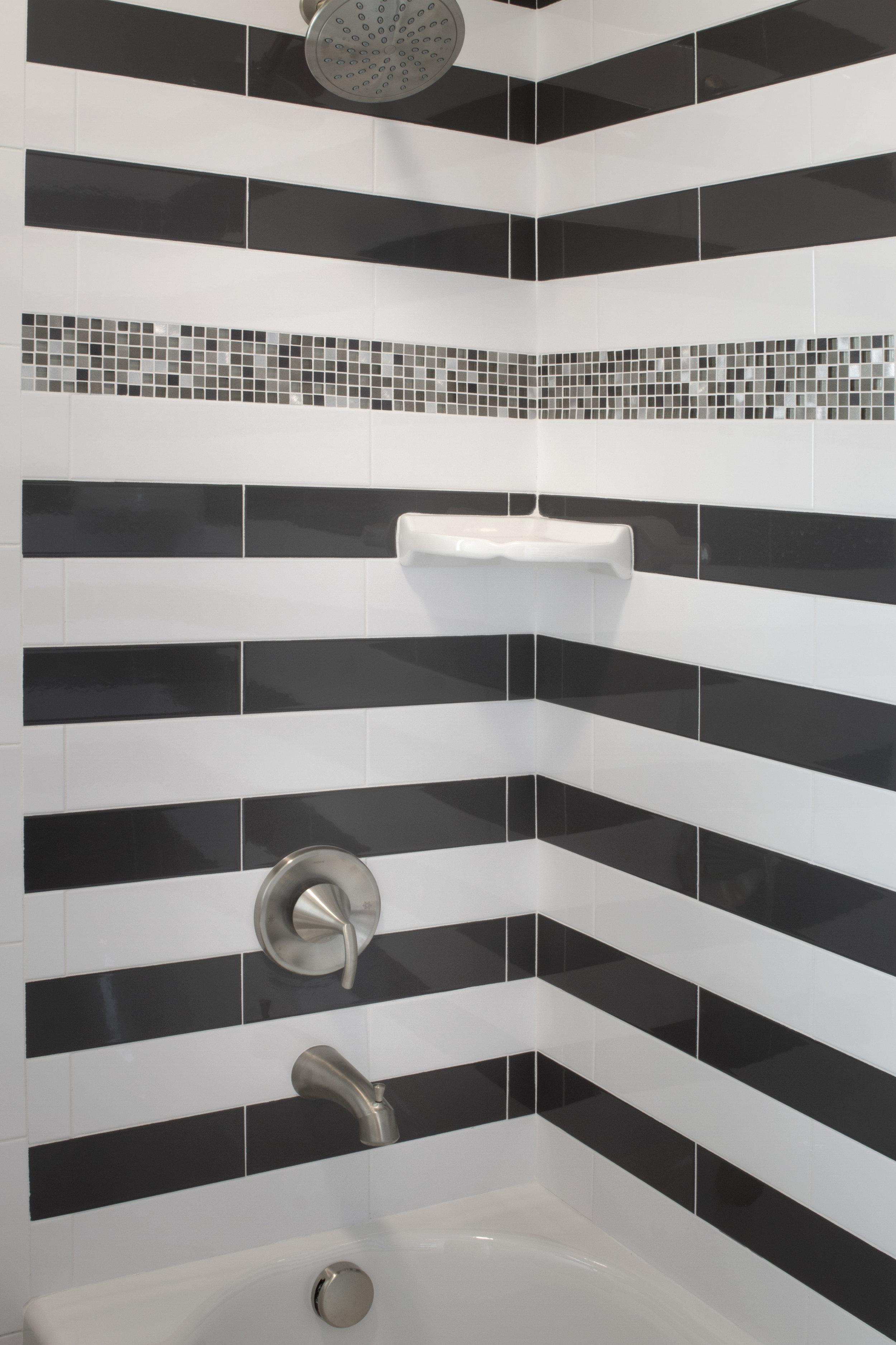 Black and White Bathroom Shower Tile