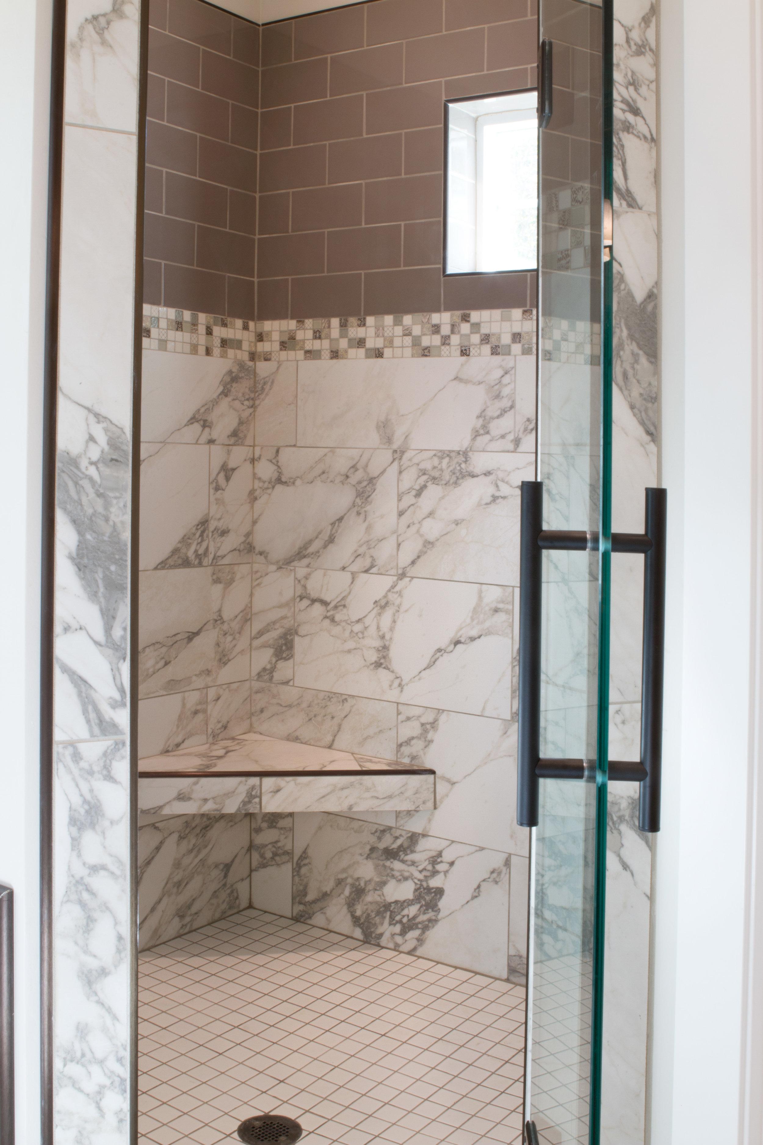 Master Bathroom Marble Shower Tile