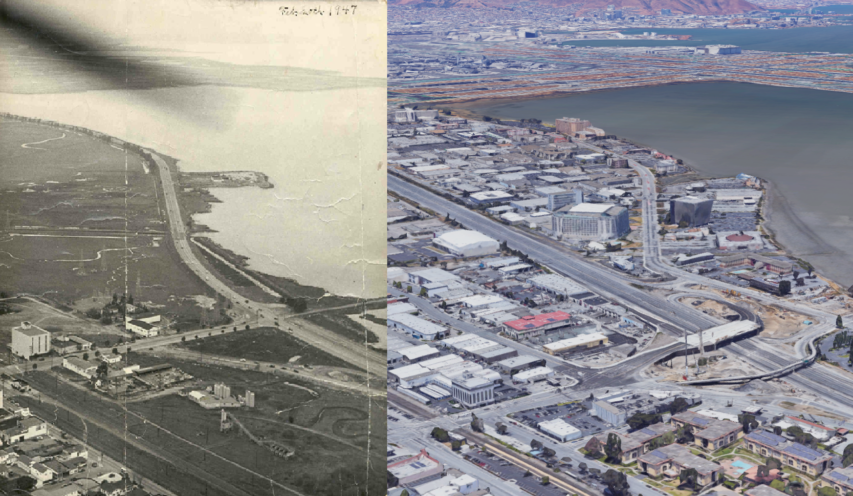South San Francisco: 1947 vs. Now - Image Courtesy Burlingame Historical Society