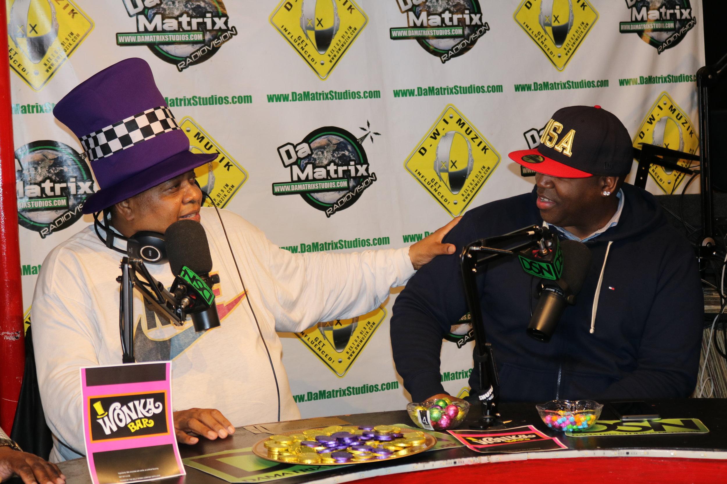 TM & Doctor Dre' Talking on the set of Fleshwound.JPG