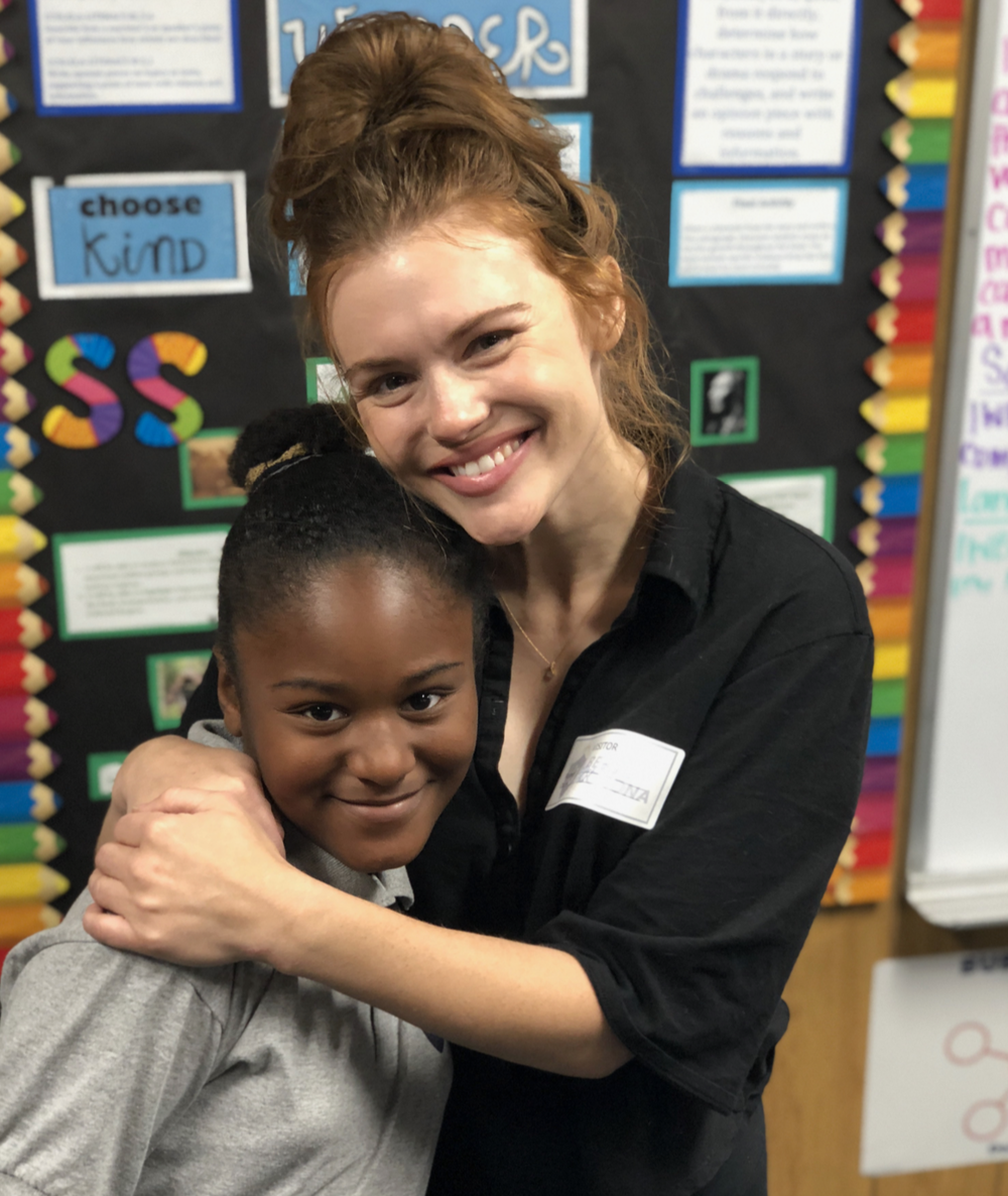 Volunteer Holland Roden with a CMH student
