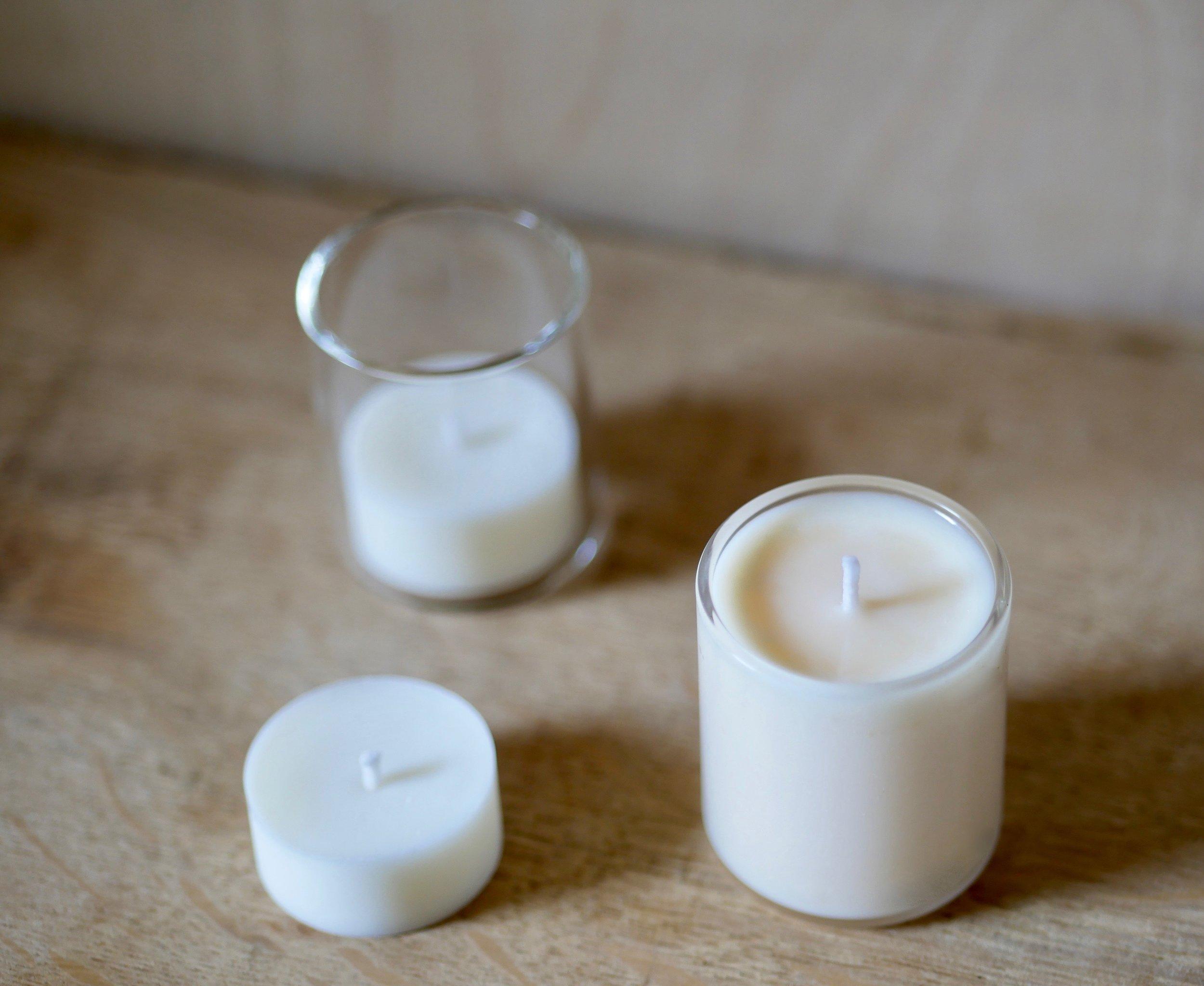 New E+A votives, with tea-light refills