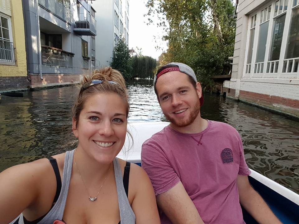 Caroline and her Fiancé enjoying the canals of Hamburg