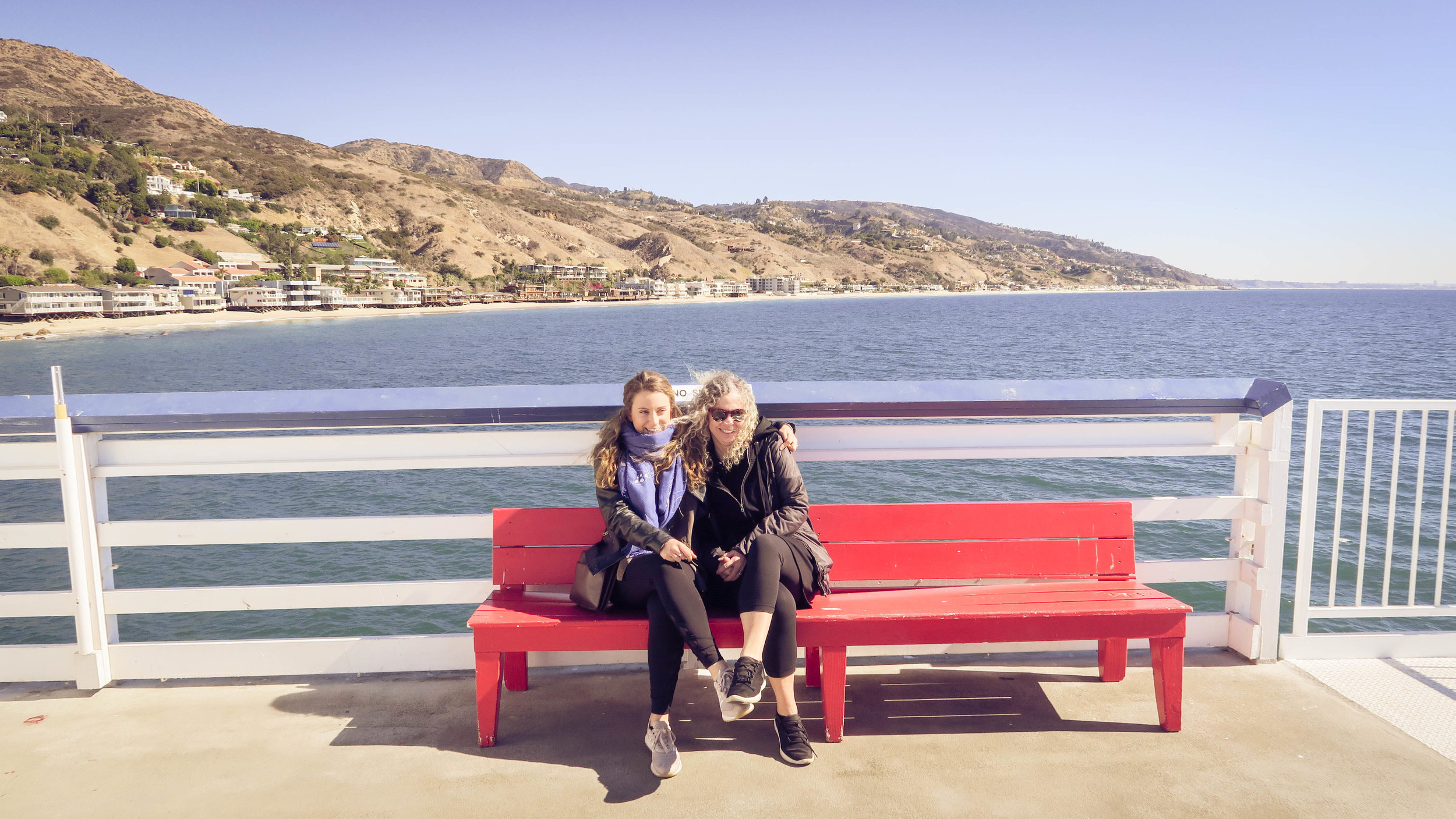 Red Benches in Malibu are made for Mother Daughter pictures