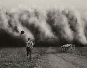 Photos of Man in Dust storm during the Dust Bowl Era - courtesy internet source