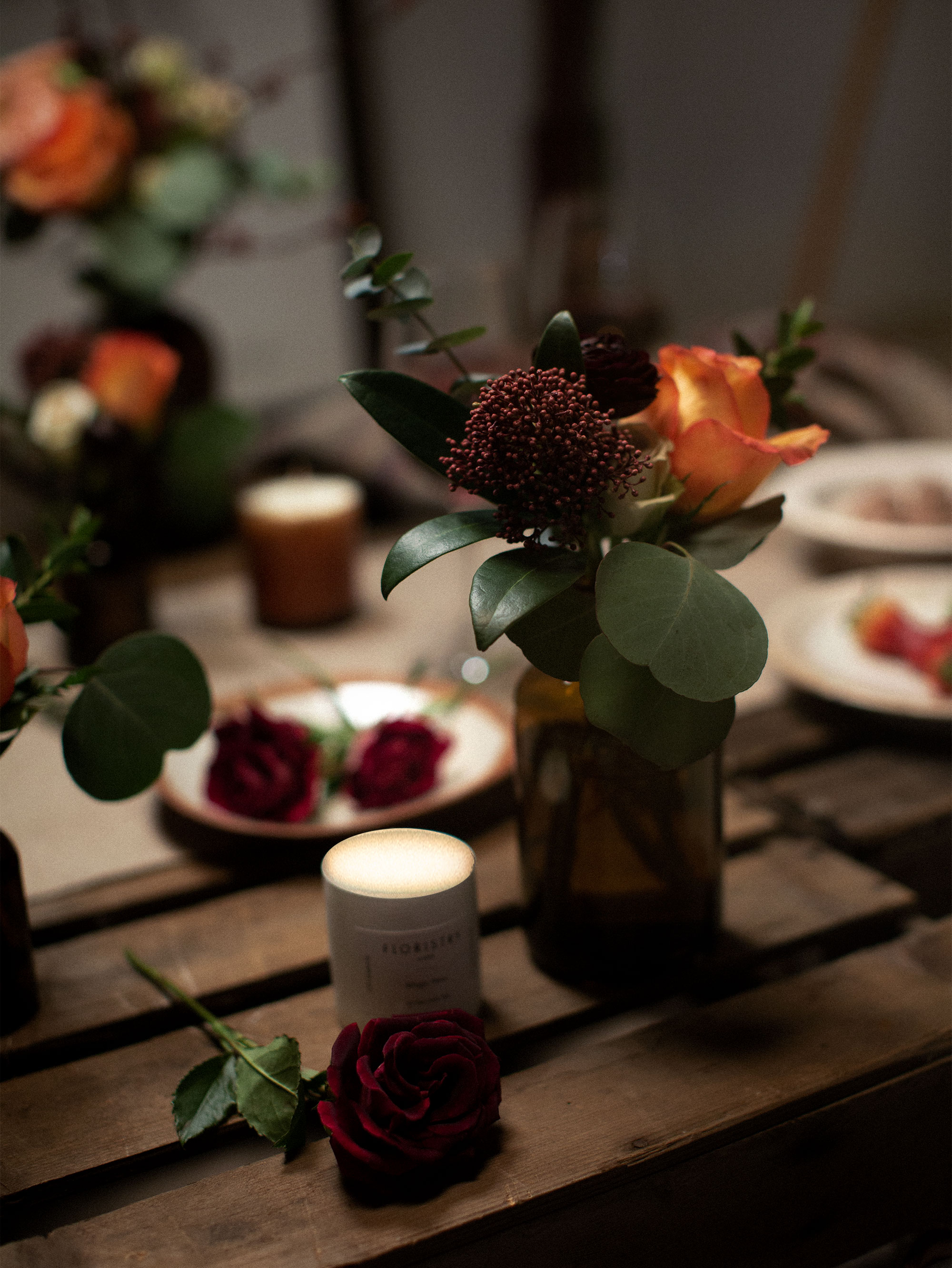 Burnt orange and deep red hues of our Gypsy Heart flower jars