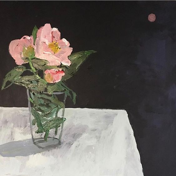 Camellias and Strawberry Full Moon by Vanessa Stockard