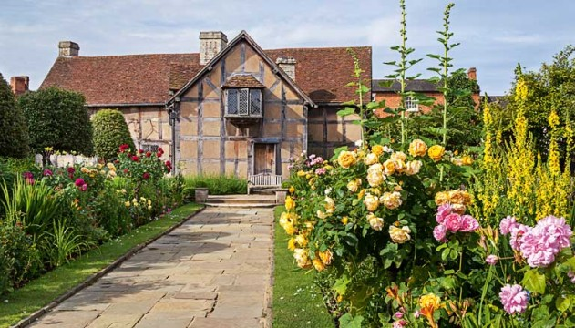 A Shakespeare garden at the house he was born at in the UK