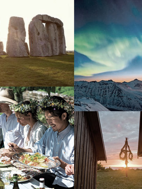 Clockwise from top right: aurora borealis as viewed from Mohe, Swedish maypole, midsummer feast and sunrise at Stonehenge.