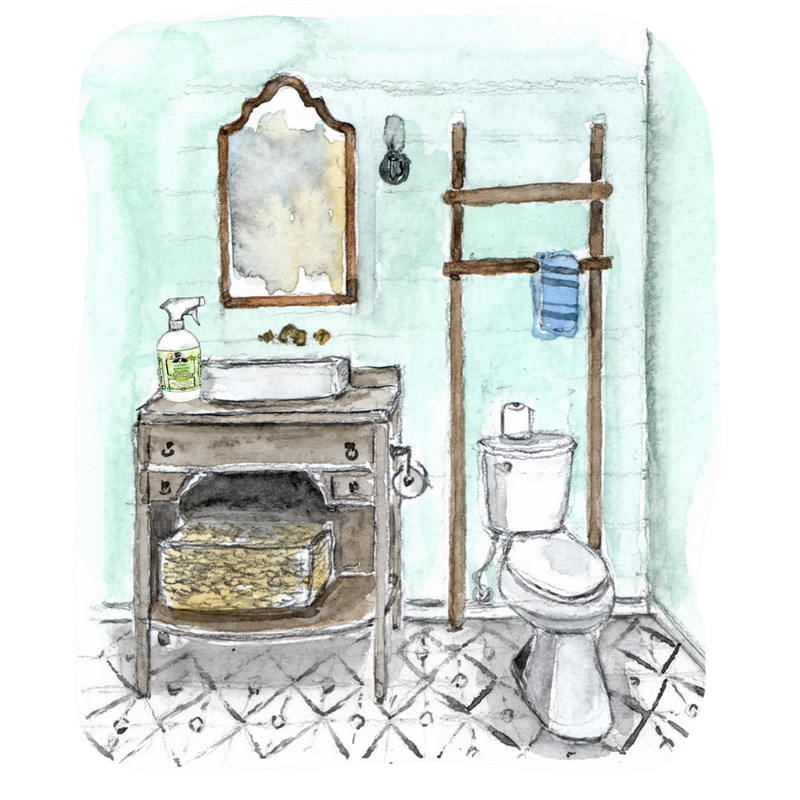 Cleaning the farmhouse bathroom with Agatha's Amazing Cleaner