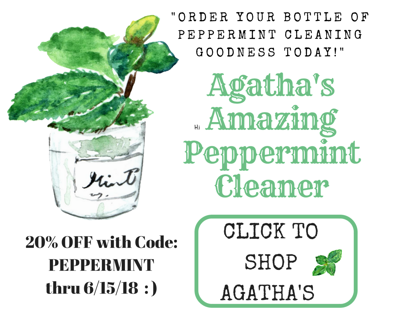 Agatha's Apothecary Peppermint Cleaning Spray Offer