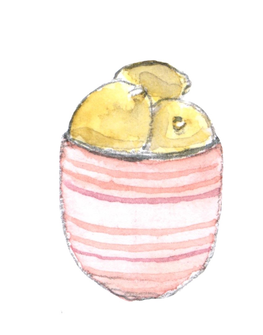Lemons in a pink bowl