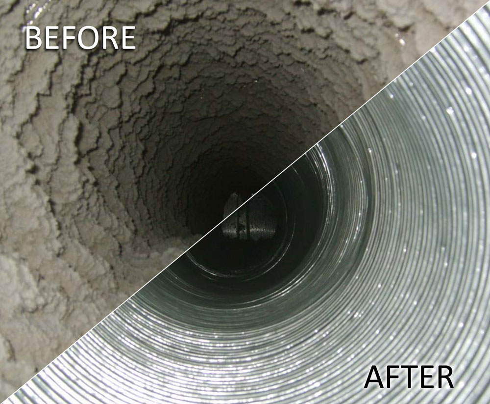 This is how an air duct look before and after service.