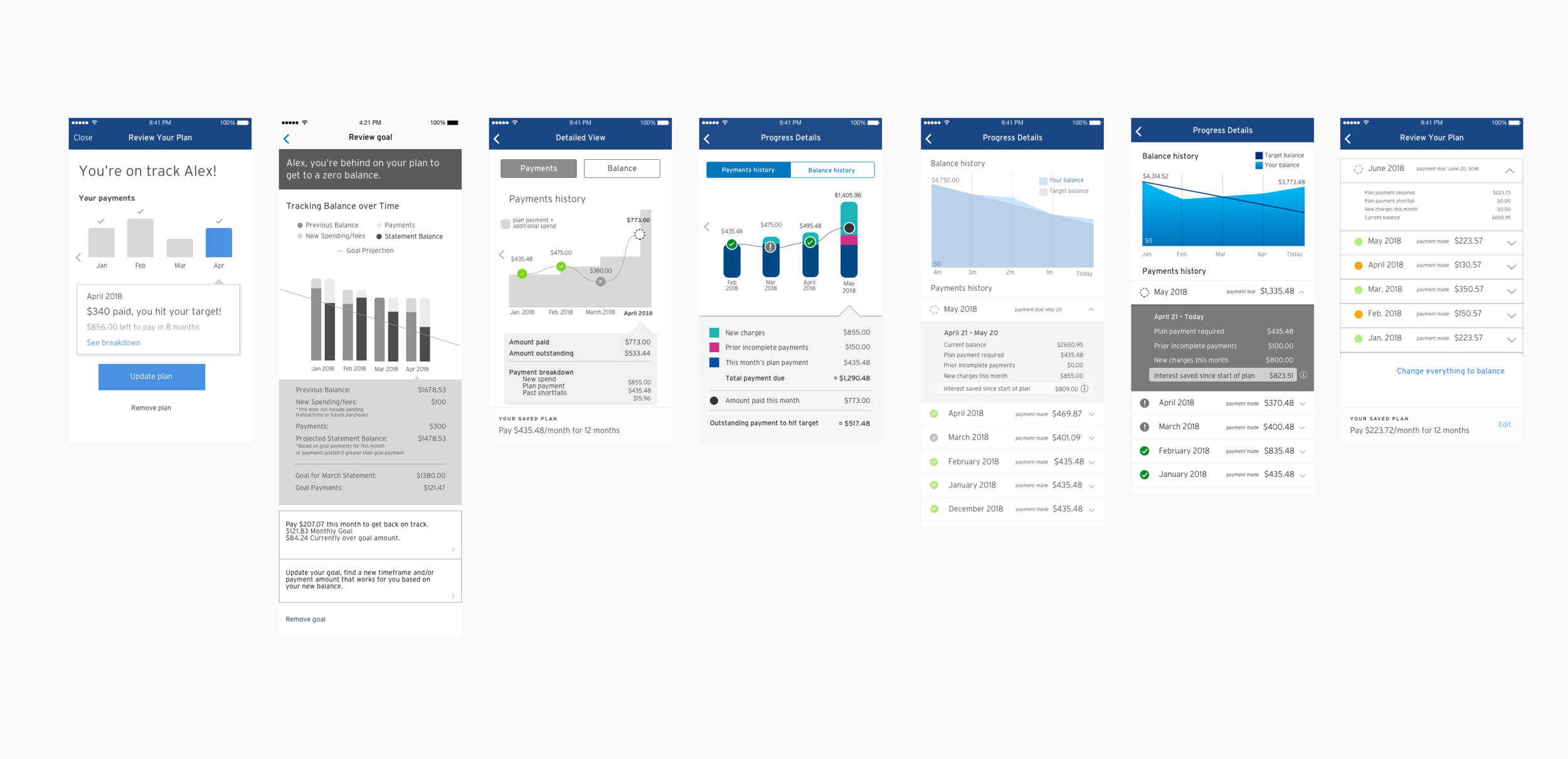 Various visual treatments on how we serve up customer's data - balancing between easy comprehension and maintaining a certain aesthetic.