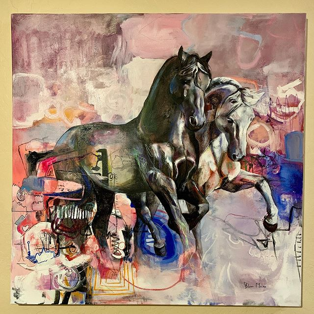 "Look what is up on my living room wall! It's a ,""DAFNI MILAN"" @dafnimilan #love #art #artist #oilpainting #horses #abstractart #abstract #contemporaryart"