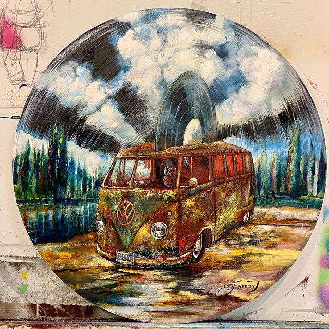 @djfreezyj in a van down by the river #rock #dj #music #arizona #vans #vinyl #oilpainting