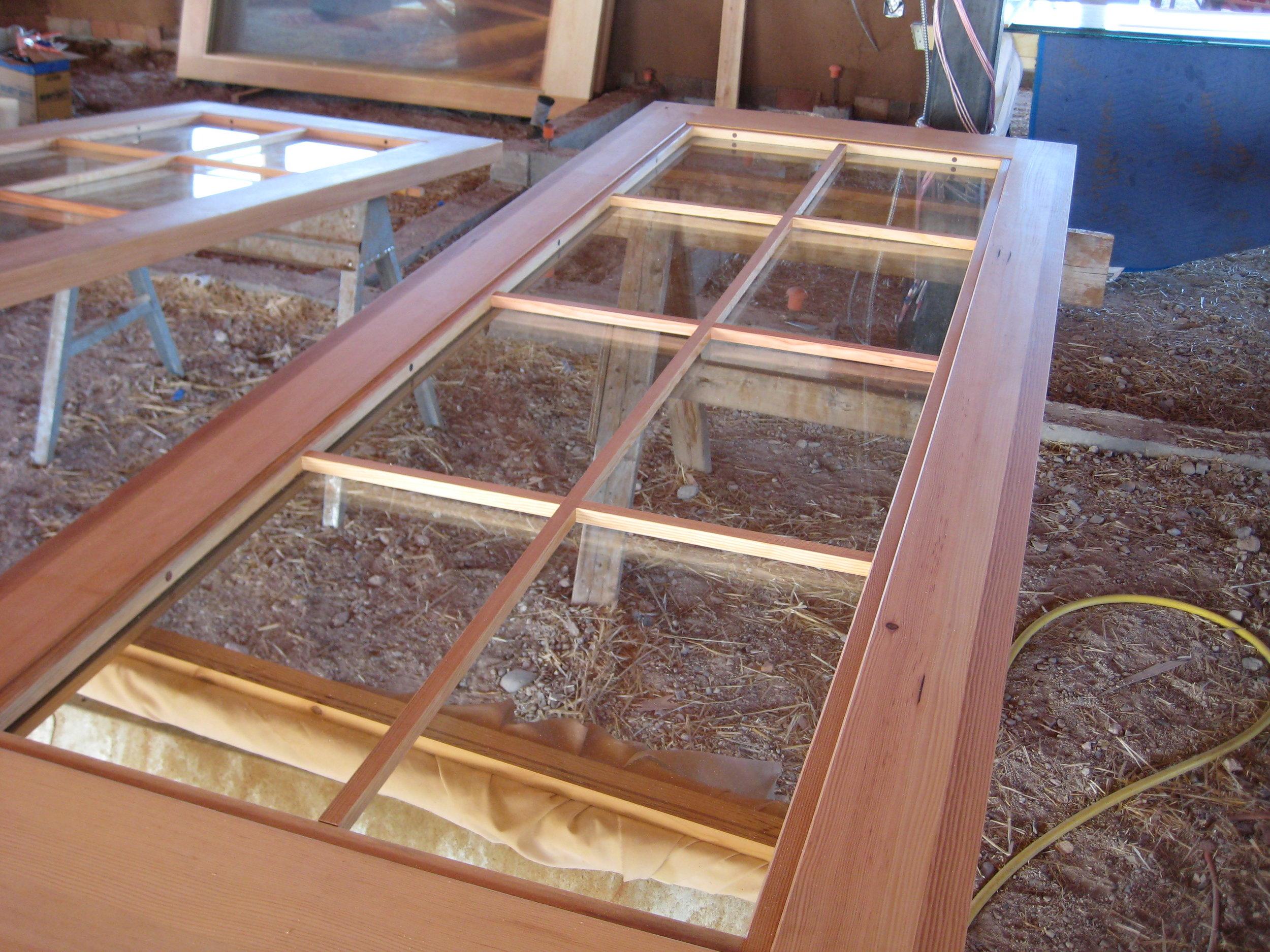 Douglas fir doors in production