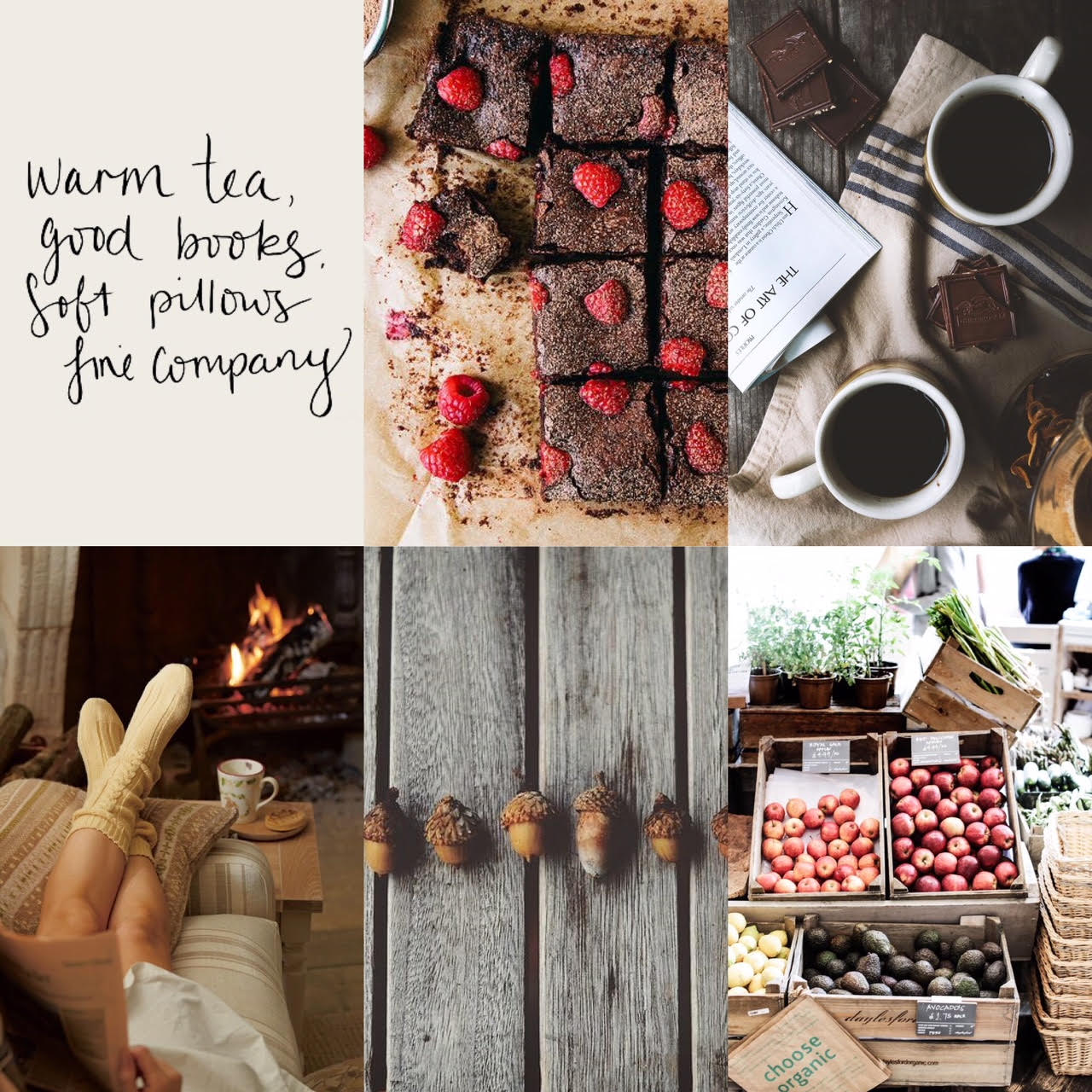 SOURCES:  QUOTE ,  BROWNIES ,  COFFEE MUGS ,  COZY COUCH ,  ACORNS ,  FARMERS MARKE T