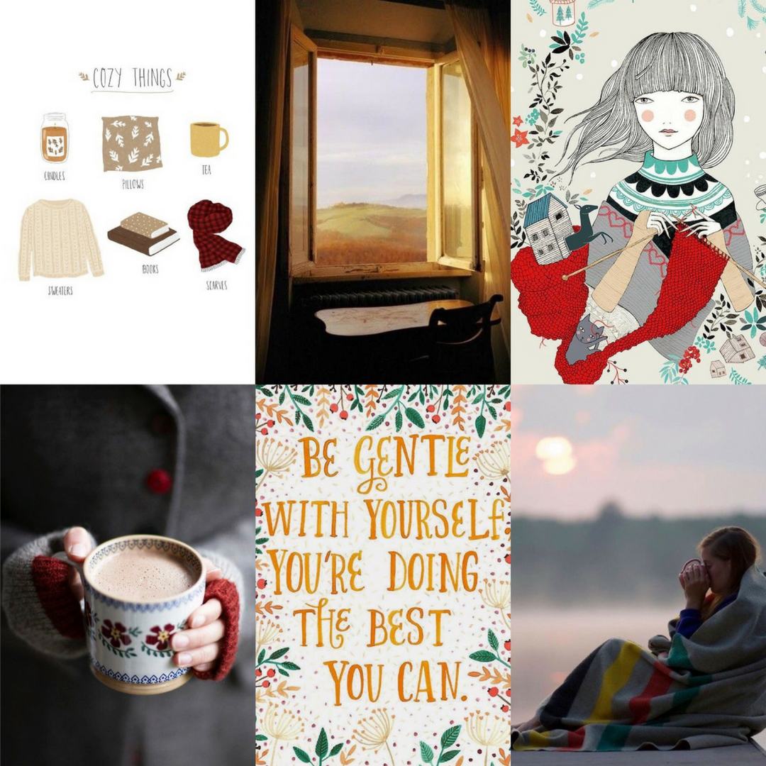 Sources:  cozy things ,  window ,  knitter,   sunset ,  quote ,  coffee