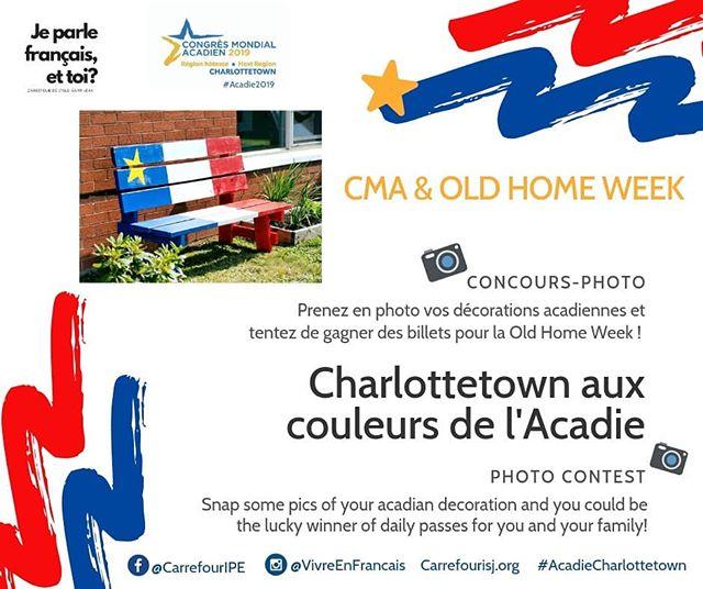 """⭐️ CONCOURS / CONTEST ⭐️ (english below) Les festivités du CMA 2019 à Charlottetown, c'est dans un mois tout pile ! C'est l'occasion d'habiller la ville aux couleurs de l'Acadie, alors à vos pinceaux et vos outils pour décorer vos maisons et jardins ;) Pour vous inspirer et partager les bonnes idées, le Carrefour organise un concours-photo : . 🎁 À GAGNER : un laissez-passer pour une personne pour l'ensemble de la Old Home Week PEI (10 jours) OU des billets journaliers pour votre famille pour assister aux célébrations du CMA lors de la OHW. . 📸 POUR PARTICIPER : - Décorez votre maison et/ou jardin et prenez en photo vos réalisations - Suivez notre compte @vivreenfrancais - Publiez vos photos avec le mot-clic #AcadieCharlottetown. Les gagnants seront choisis parmi les photos qui génèreront le plus de """"J'aime"""". - Date limite : le 8 août 2019.  Pour avoir plus de chances de gagner, n'hésitez pas à partager cette publication et vos photo 😉 --- D-30 before the CMA 2019 celebrations in Charlottetown. A perfect opportunity to dress the city in the colours of l'Acadie, so grab your brushes and tools and decorate your homes and gardens ;) To inspire you and share good ideas, le Carrefour organizes a photo contest : . 🎁 Get a chance to WIN one event pass (10 days) for Old Home Week PEI OR daily passes for you and your family! . 📸 To enter this contest, you must : - Decorate your house/garden and snap some pics of your acadian decorations - Follow us @vivreenfrancais - Share your photos on Instagram and use the hashtag #AcadieCharlottetown.  The winner will be the participant with the highest numbers of """"Like"""". - Deadline : August 8, 2019.  Feel free to share this post so that your friends and family can vote for your photo ;)"""