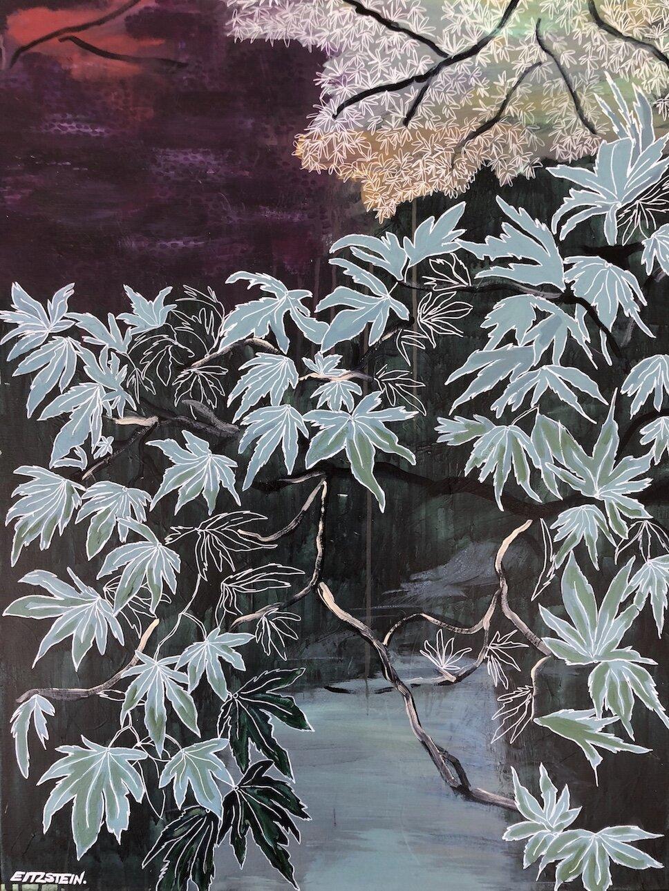 ONE LIFE, ONE ENCOUNTER    Acrylic on linen, framed in raw oak, 76cm x 102cm