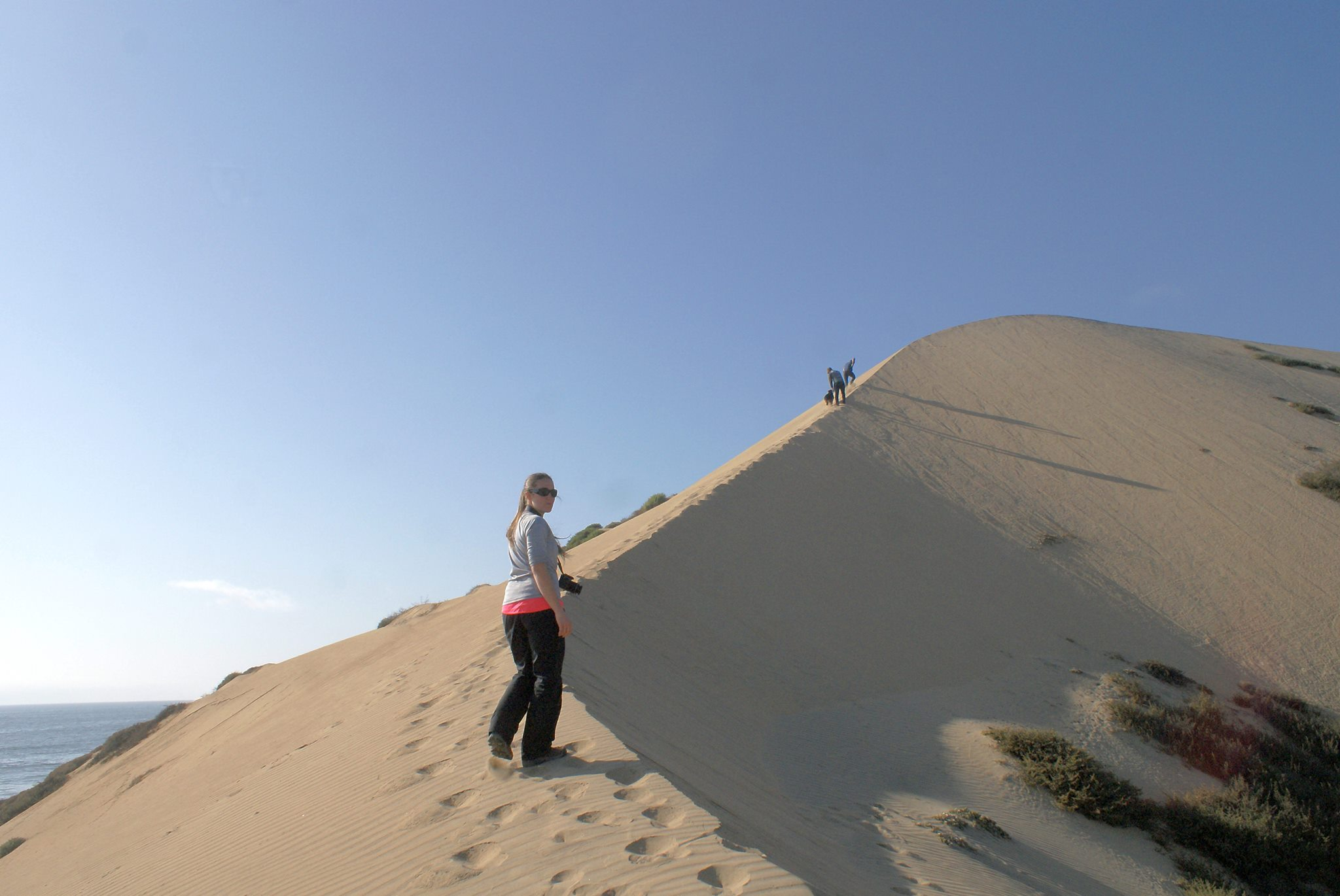 Hiking sand dunes on the way to Baja California, Mexico