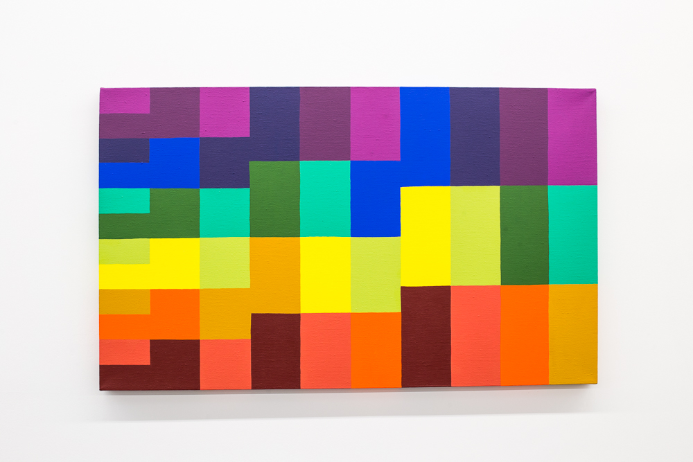 The Key , 2017, acrylic on canvas (chromatic scale, whole tone scales, minor thirds, major thirds), 24 x 40 inches