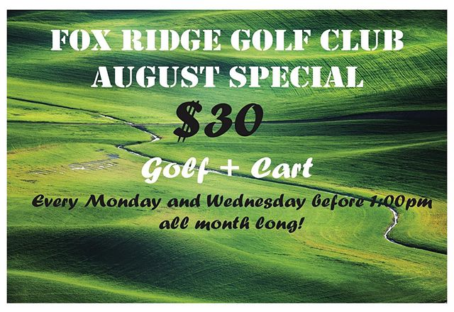 Our $30 golf + cart special is continuing into August @foxridgegolfclub !! Don't miss it, every Monday & Wednesday before 1:00 pm. 🙌🏻 #dikeiowa #augustgolf #augustgolfspecials #golfspecial #golfer #golffun #golfcart #foxridgegolfcourse #mondaygolfspecial #wednesdaygolfspecial #summergolf
