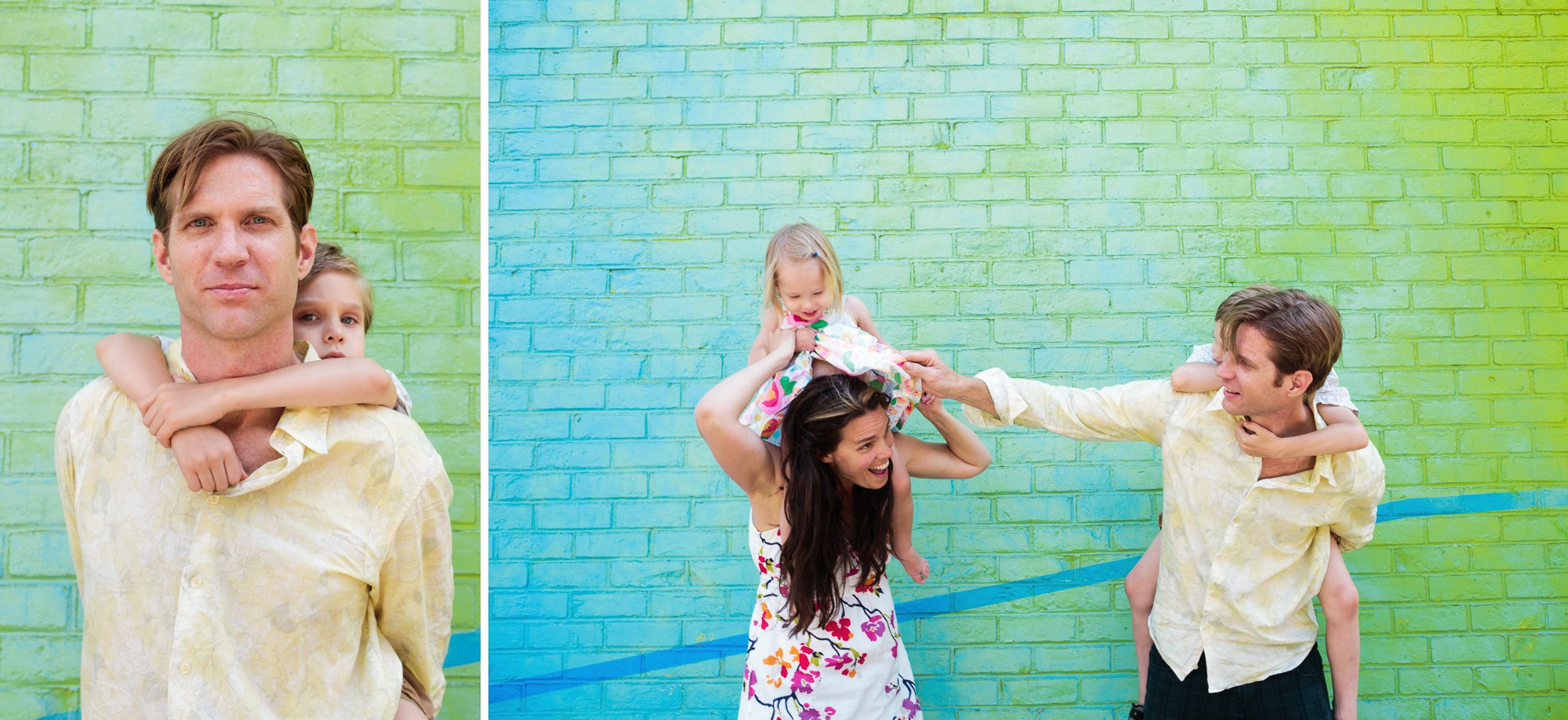 Dumbo Mural Art used as backdrop for lifestyle Family photography session