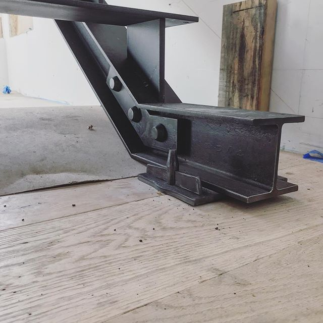 Another detail from the stair project. Can't wait to see it with the treads in! #busheyironworks #busheybrothers #blacksmith #forgeddetails #stairs
