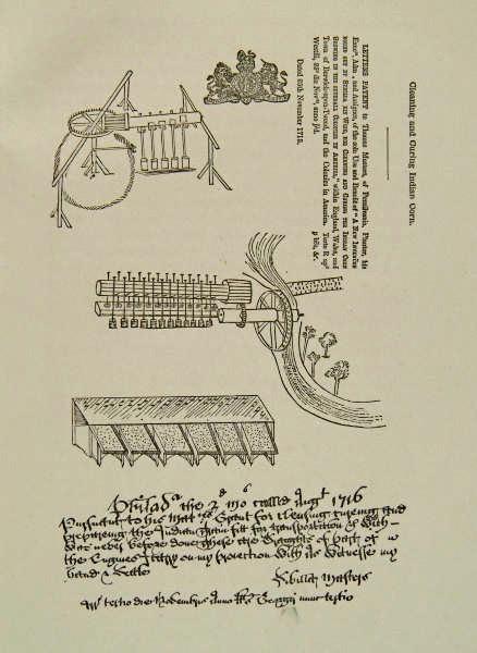 Der findes ingen billeder af Sybilla Masters. På billedet ses hendes ansøgning til patent på majsmøllen.