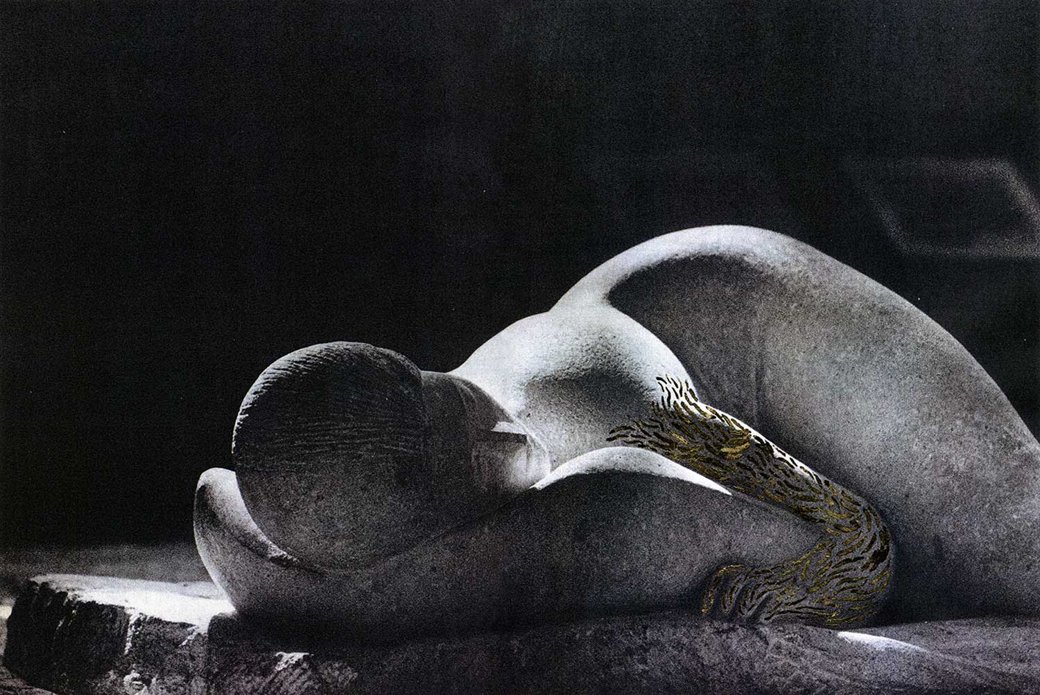 Ancient Sleep 3 , (from the series A Head of Stone Still Moves), inkjet print on paper from original paper collage, variable size, 2016