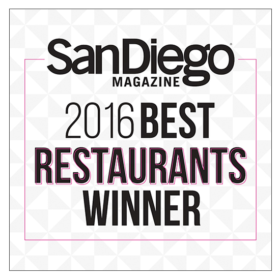 San Diego Magazine2016 Best Restaurant Winner -