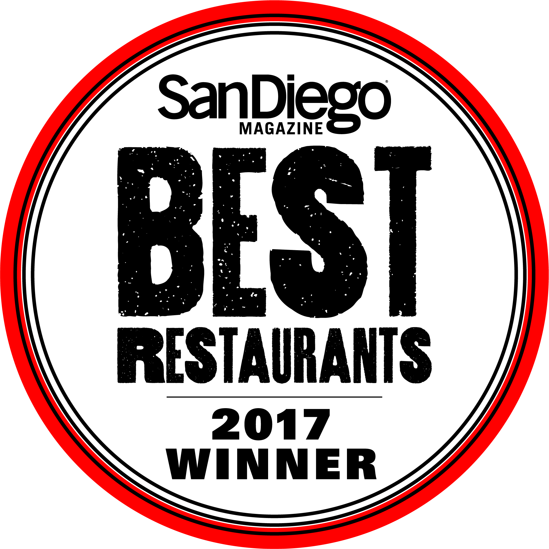 San Diego Magazine2017 Best Restaurant Winner -