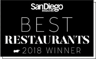 San Diego Magazine2018 Best Restaurant Winner -