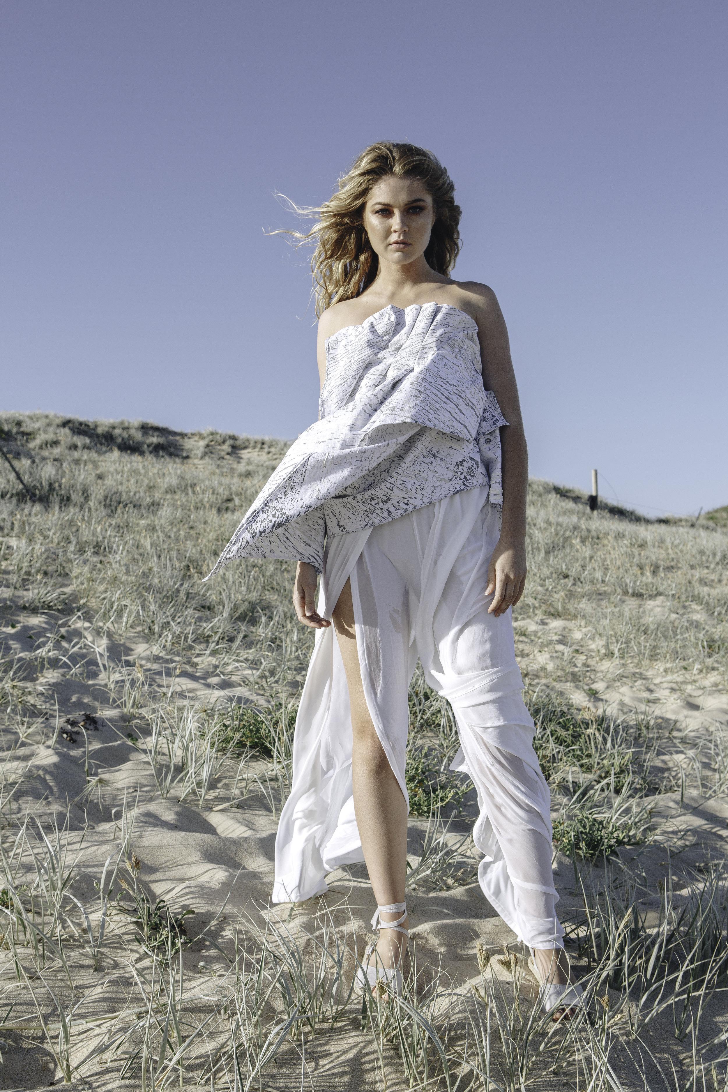 PLEATED DRAPE DENIM BODICE  HIGH WAISTED SPLIT VELVET PANTS  IN WHITE
