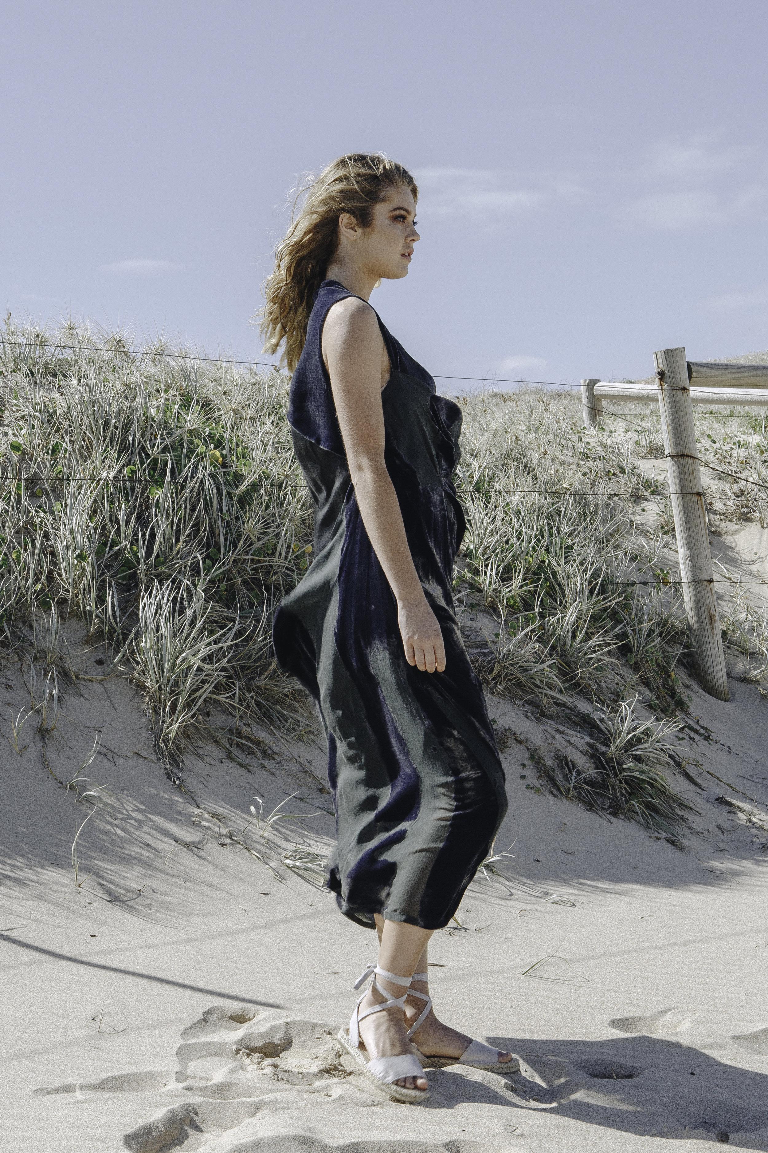 COLLAPSE VELVET DRESS  SILK SATIN SLIP  IN SEA MOSS GREEN