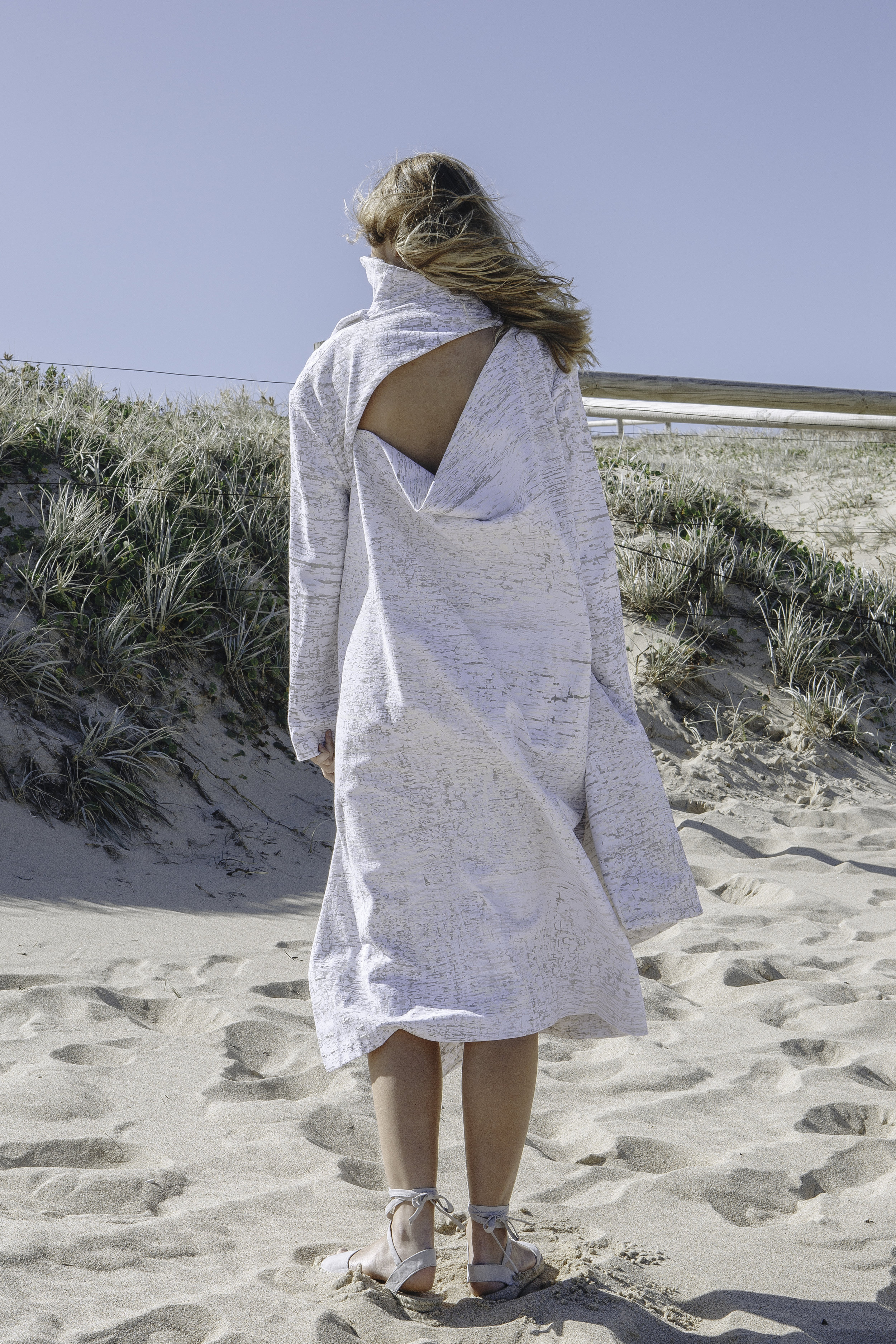 DRAPE BACK PLEATED DENIM COAT/DRESS  IN WHITE