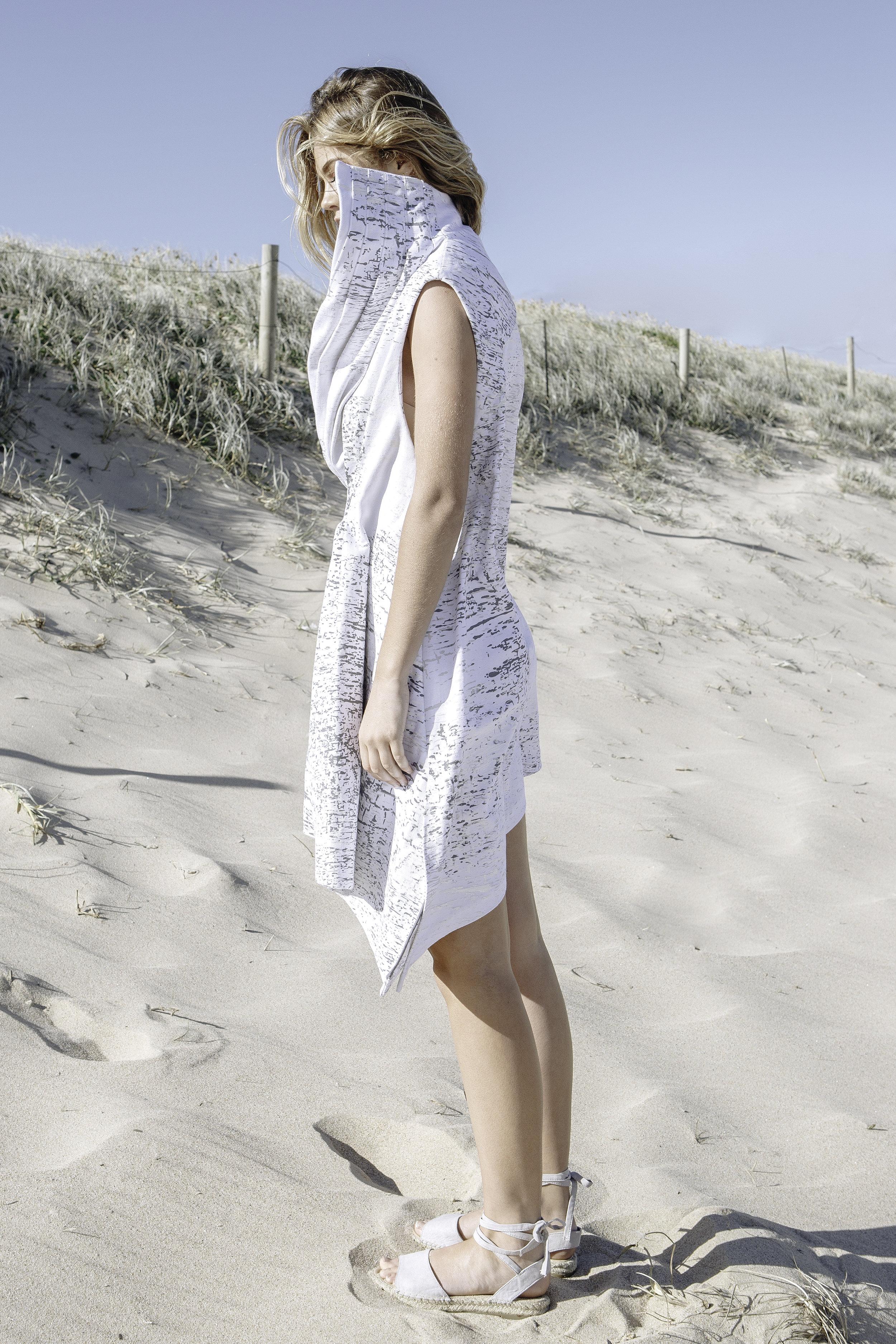 ASYMMETRIC PLEATED DENIM DRESS  IN WHITE