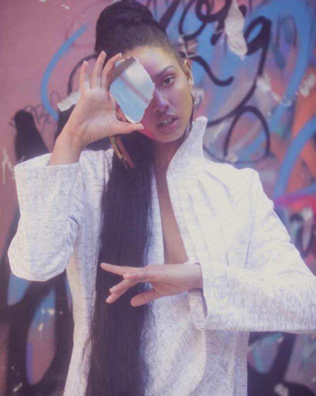 For @pageone_magazine  The Asymmetric Drape Back Coat/Dress  Photographer: @ahsatankilleen  Model: @thatssoraya__ @viviensmodelmgmt  Hair/Makeup: @kaoriharigae  @stylist: @paigemarygrace  #fashion #fashiondesign @photoshoot #styling #photography #hair #makeup #clothes #denim #silkscreenprinting #drape #printed #cracking #ephemeral #natural #silk #softblossom #womenswear #white #grey