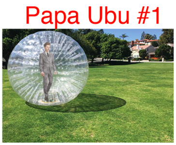My rudimentary Papa Ubu costume, complete with hamster ball and suit.