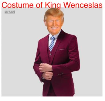 King Wenceslas costume that compliments my Not-Trump-Ubu costume.