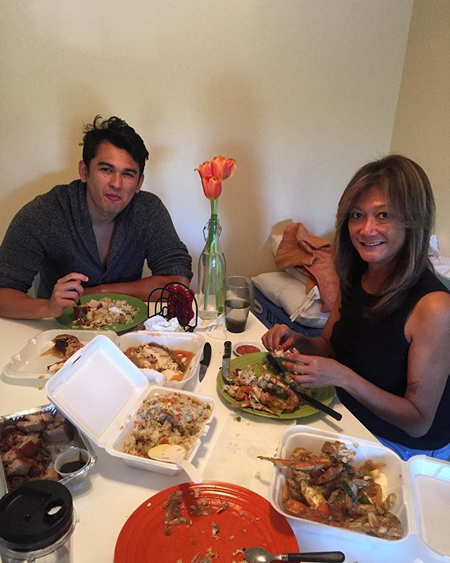 Easter breakfast! Léchons crabs and tilapia :))) w/ mom & Johnny