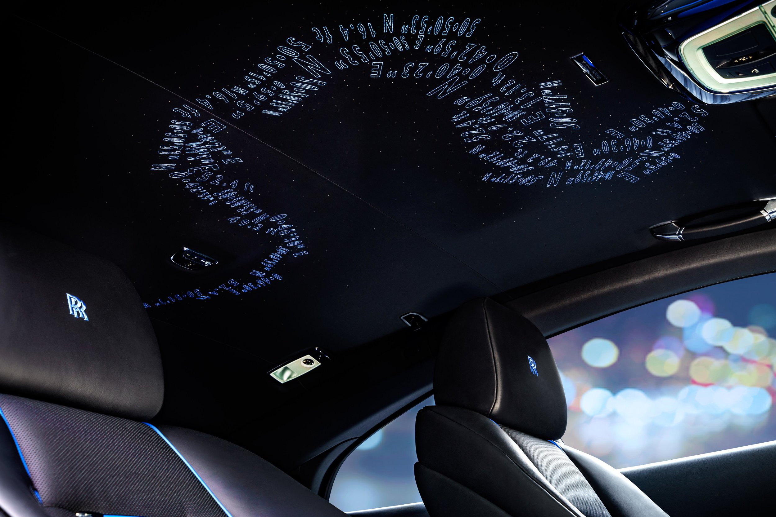 The coordinates of the localities of the Rolls Royce artisans, in a stunning homage to the craftspeople behind the luxury supercars.