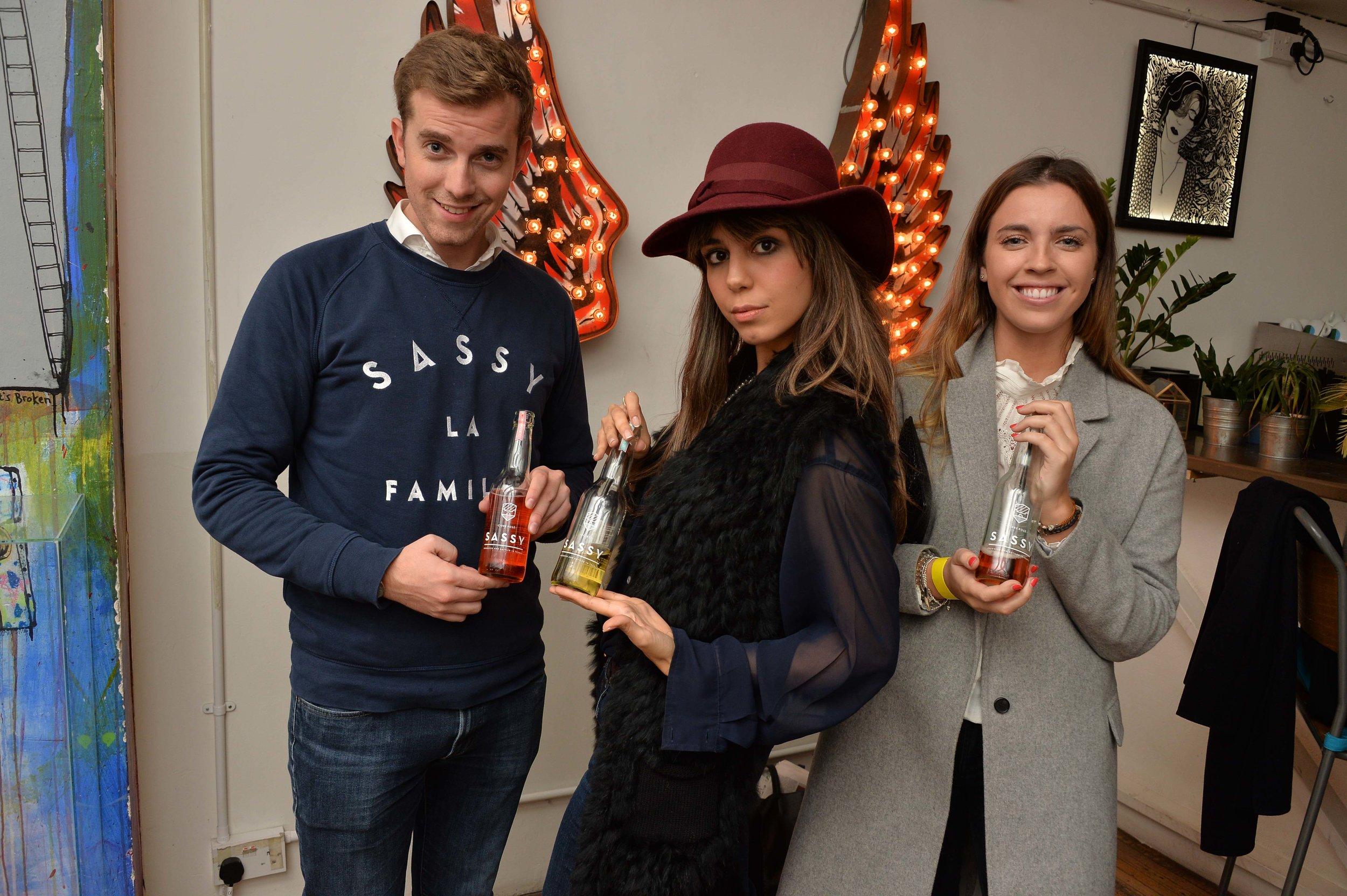 The London Journalist (middle) modelling Sassy Cidre