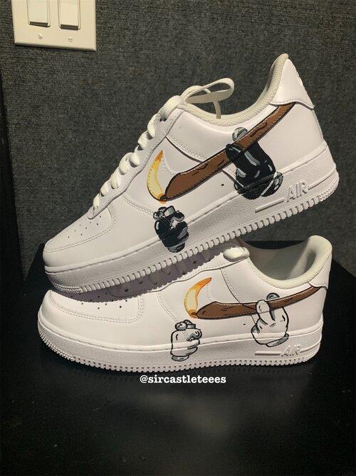 One 1 Red Nike Air Low White Force Custom Bandana Men's