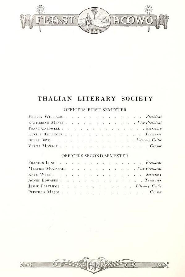 Thalian Literary Society Officers 1914