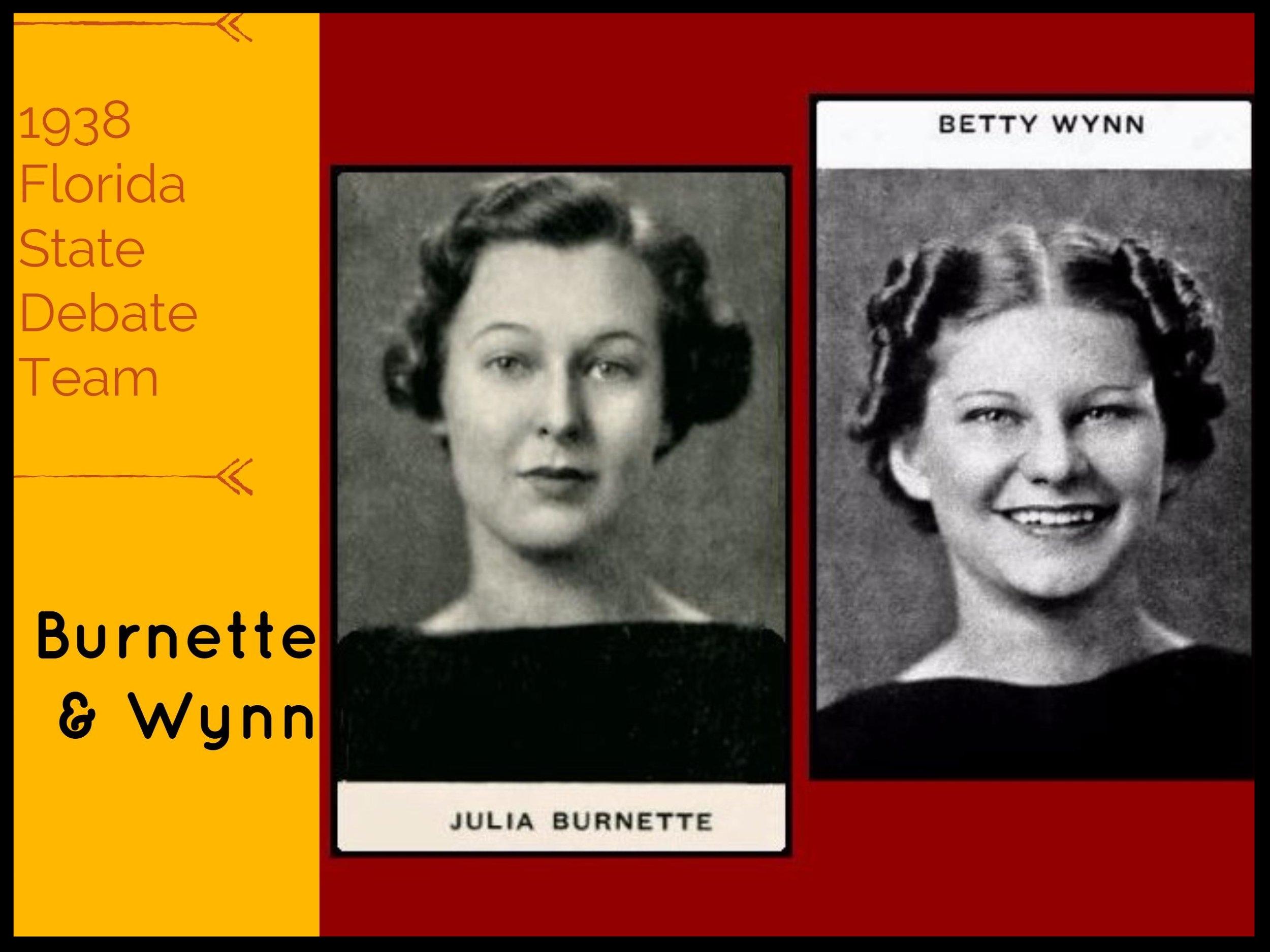 1938 Florida State Debate Team Burnette & Wynn